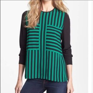 Vince Camuto Striped Front Blouse Oversized NWOT